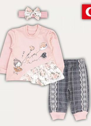 Комплект ясельный костюм для девочки хлопок с кружевом