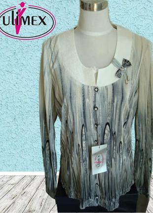 🌹🌹 ulimex нарядная блузка женская длинный рукав гофре польша 🌹🌹🌹