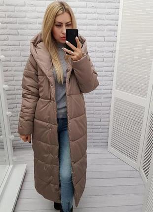 Длинная зимняя куртка курточка одеяло пальто пуховик с капюшоном наполнитель силикон