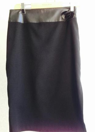 Чёрная юбка с. кожаными вставками top shop, р. с