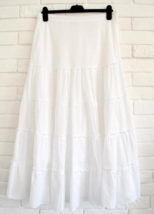 Белая макси юбка  из хлопка uk16 большой размер в идеальном состоянии
