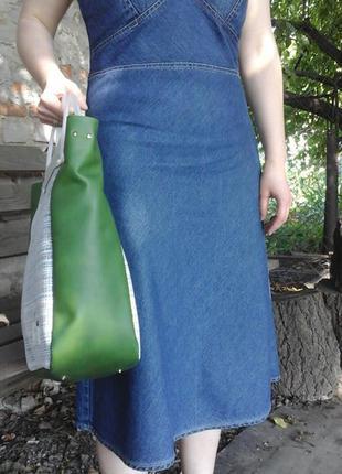 Натуральная кожа. большая сумка с длинной съёмной ручкой3