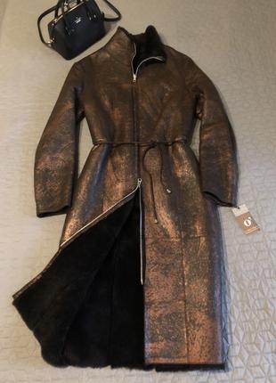 Итальянское натуральное двухстороннее мех/кожа пальто на молнии o'dett, р. s-м