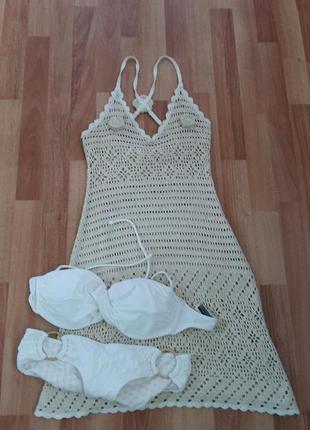 Фирменное вязаное пляжное платье,с-м