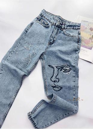 Шикарные трендовые джинсы мом с лицами