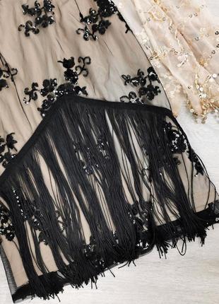Облегающее платье с вышивкой на сетке и бахромой boohoo размер uk10/38 (s)3 фото