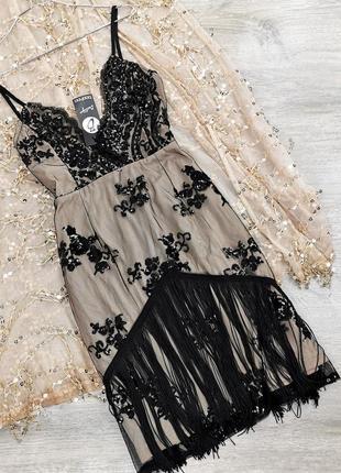 Облегающее платье с вышивкой на сетке и бахромой boohoo размер uk10/38 (s)1 фото
