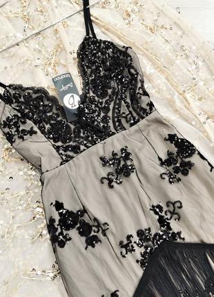 Облегающее платье с вышивкой на сетке и бахромой boohoo размер uk10/38 (s)4 фото