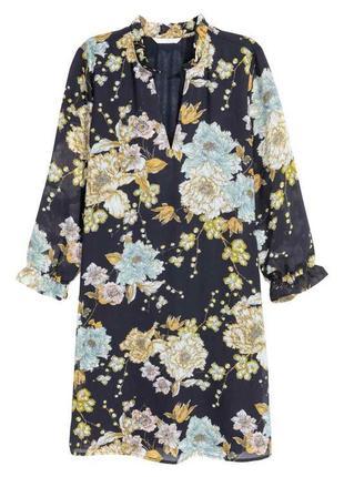 Шифоновое платье с цветами свободного кроя