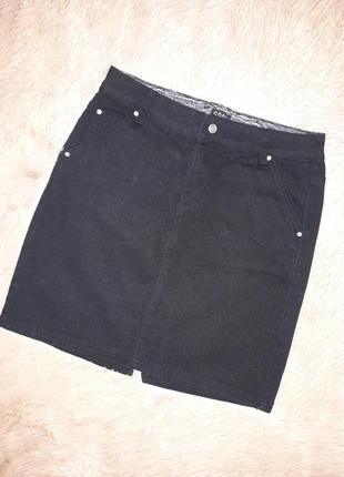 Черная джинсовая юбка спідниця
