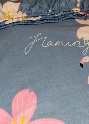Простыни на резинке из бязи - фламинго и цветы, все размеры, быстрая отправка