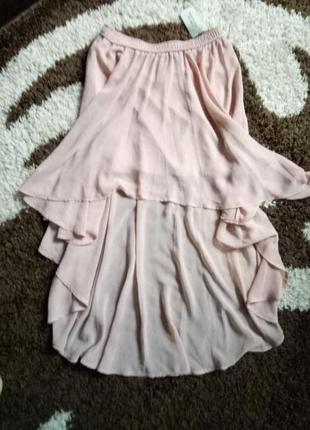 Шифоновая юбка цвет пудры forever 21