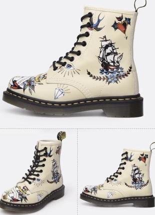Обалденные 100% кожаные ботинки 🥾цвет слоновая кость с рисунком «тату»