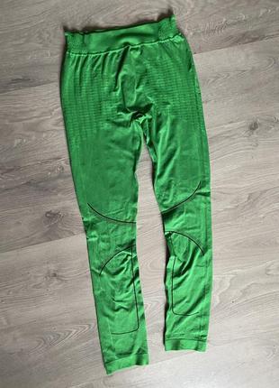 Спортивные бесшовные лосины термобелье ярко зелёные. унисекс.
