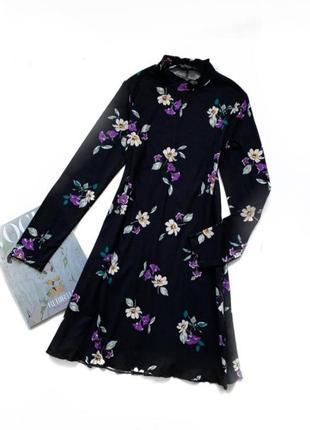 Свободное платье цветочный принт цветы мягкое гольф