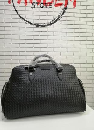 Дорожная кожаная сумка ручная кладь чёрная саквояж