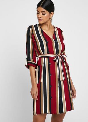 Двубортное  прямое платье рубашка без пояса сукня