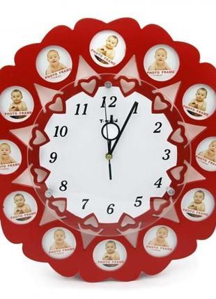 Часы мультирамка для фотографий 12 сердечек