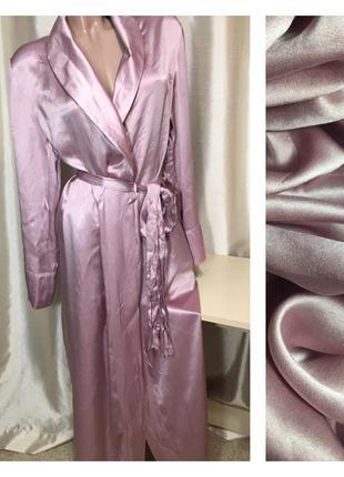 Шелковый  длинный халат  цвета пыльной розы из 100% натурального шелка