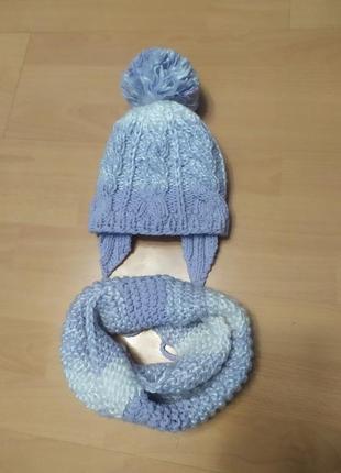 Комплект вязаный снуд и шапка на флисе ручная работа