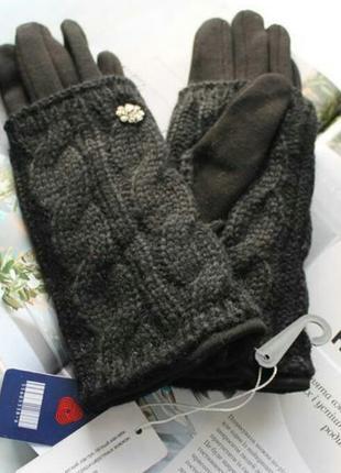 Женские кашемировые перчатки с вязкой чёрные