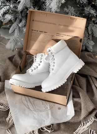 Красивейшие женские ботинки timberland белые на меху зимние
