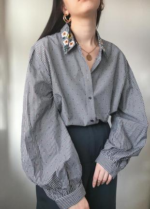Шикарная рубашка в клетку с объемными рукавами с вишивкой нарядная трендовая блуза zara