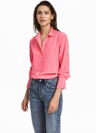 Рубашка h&m 100%silk шелк xs-s salle 50%