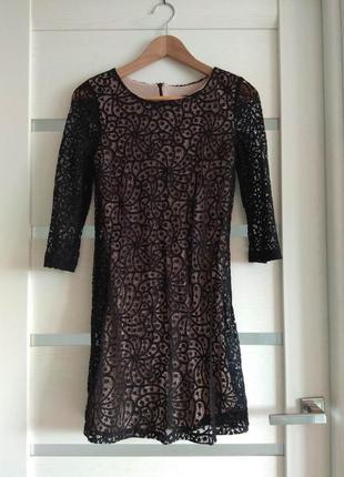 Нарядное кружевное чёрное платье коктельное вечернее mango размер xs-s1 фото