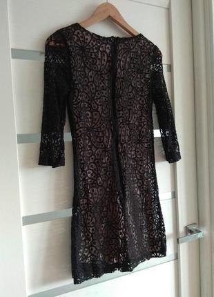 Нарядное кружевное чёрное платье коктельное вечернее mango размер xs-s5 фото