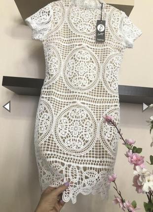 Шикарное кружевное платье мини, вечернее белое платье мини,