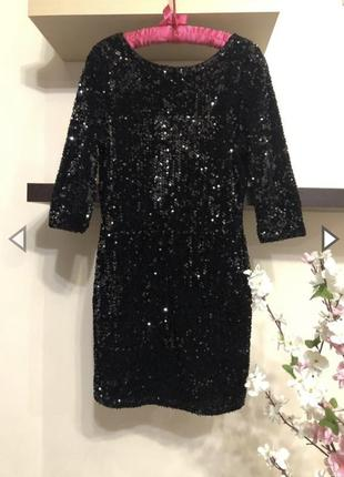 Вечернее платье с пайетками мини, чёрное вечернее платье мини