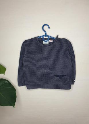 Вязаный свитер zara 3-4 года серый