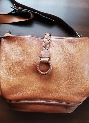 Фирменная кожаная сумка massimo dutti