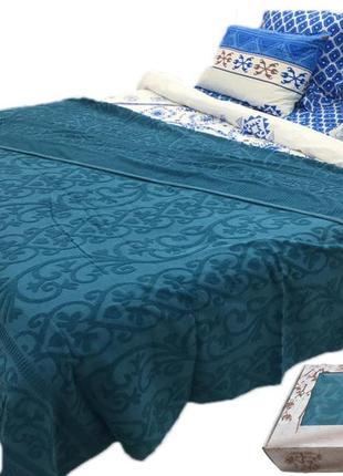Махровый плед, махровое покрывало, махровая простынь by ido luxpique 200x220. изумруд