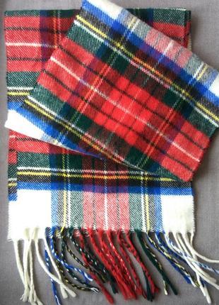 Шарф теплый в клетку мягенький шарфик 144х24 шарф разноцветный