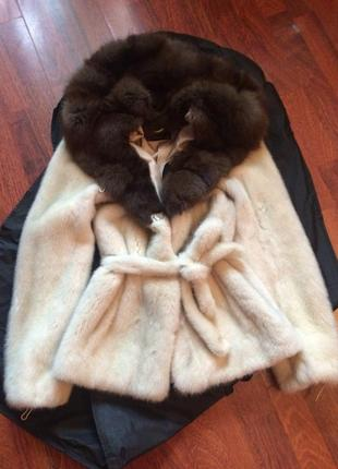 Фирменная норковая шуба с соболем kopengagen fur,капюшон баргузинский соболь