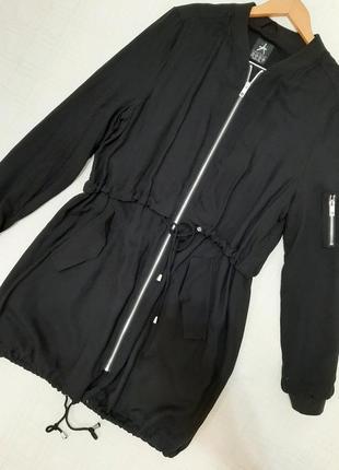 Лёгкая чёрная женская ветровка-парка atmosphere р.48-50 (12/14) на подкладке