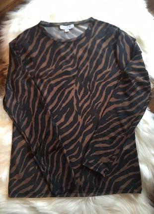 Skill/блуза/блуза-сетка/блуза в принт зебра/прозрачная блуза/сетка