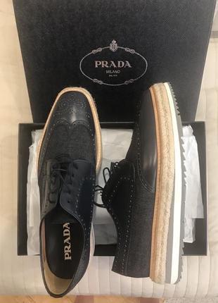 Оригинальные дерби туфли prada derby leather business