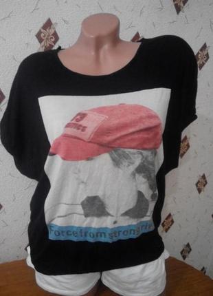 Свободная футболка  туника с принтом