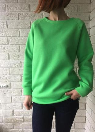 Зеленый теплый свитшот на флисе, толстовка, теплая кофта, салатовый реглан, зимняя кофта