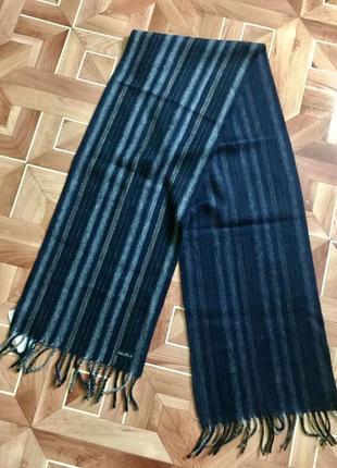 Новый с бумажной биркой шарф в полоску 100% шерсть fraas
