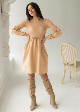 Платье - резинка с рукавами фонарик.