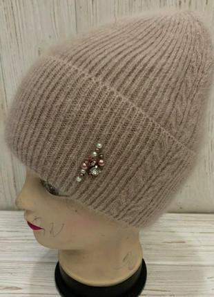 Женская ангоровая шапка на флисе