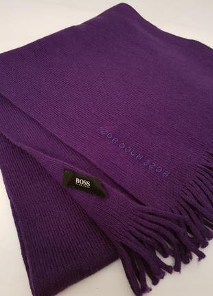 Шикарный статусный шарф hugo boss красивенного сливового цвета шерсть