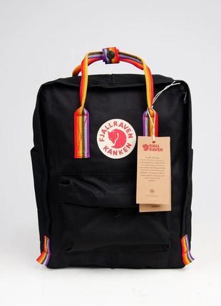 Рюкзак fjallraven kanken  канкен classic rainbow 16л черный с радужными ручками