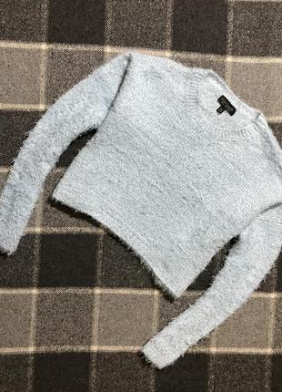 Женский укороченный свитер (травка) topshop ( топшоп м-лрр идеал оригинал голубой)