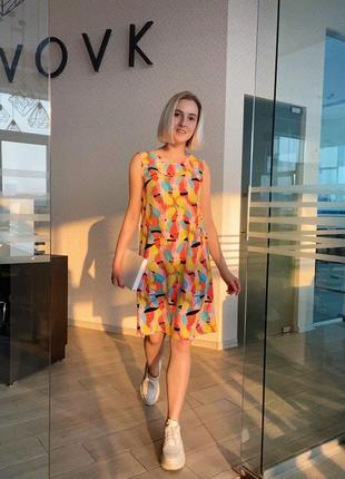 Платье-майка vovk принт яркие попугаи {xs}
