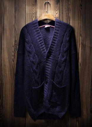 Кардиган свитер темно-синий на пуговицах  теплый вязаный мягкий уютный  есть карманы